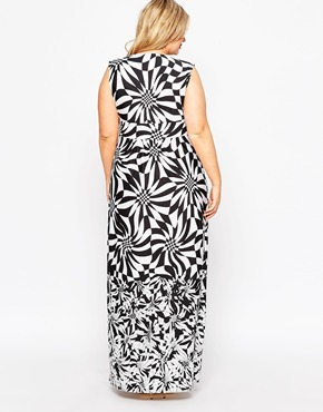 photo Wrap Front Animal Print Maxi Dress by Gemma Collins, color Black White - Image 2