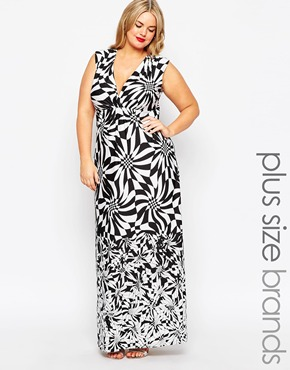 photo Wrap Front Animal Print Maxi Dress by Gemma Collins, color Black White - Image 1