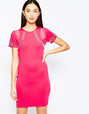 photo Bodycon Dress with Embellished Trim Detail by Girl in Mind, color Pink - Image 1