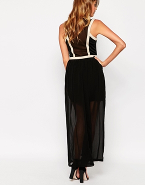 photo Maxi Dress with Piping Detail by Girl in Mind, color Black Champagne - Image 2