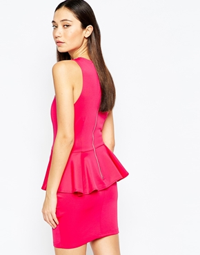 photo Peplum Dress with Embellished Cage Straps by Girl in Mind, color Pink - Image 2