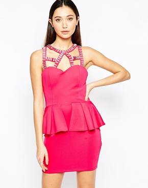 photo Peplum Dress with Embellished Cage Straps by Girl in Mind, color Pink - Image 1