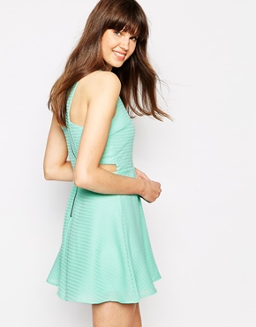 photo Carlson Cut Out Lace Skater Dress by Greylin, color Aqua - Image 1