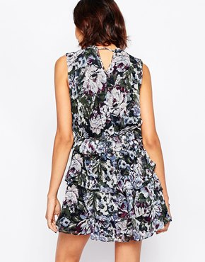 photo Chennai Silk Floral Printed Dress by Greylin, color Plum - Image 2