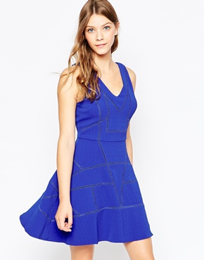 photo Fit n Flare Dress by Greylin, color Azul - Image 1