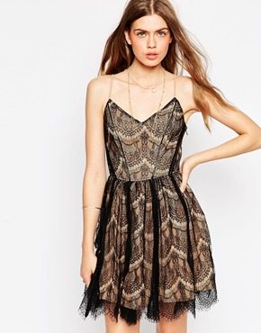 photo June Scallop Lace Skater Dress by Greylin, color Black - Image 1