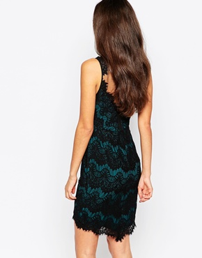 photo Lace Dress with Mesh Yoke by Greylin, color Pine - Image 2