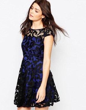 photo Lace Overlay Skater Dress by Greylin, color Blue - Image 1