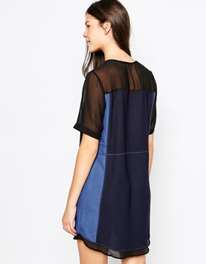 photo Mesh Panel Shift Dress by Greylin, color Navy - Image 2