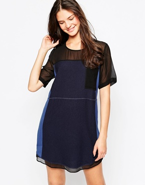 photo Mesh Panel Shift Dress by Greylin, color Navy - Image 1