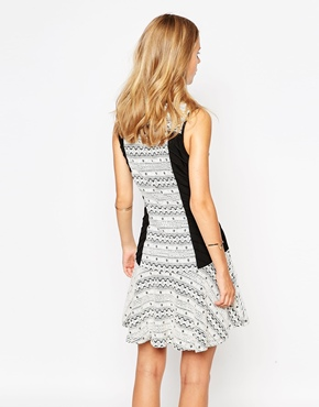 photo Printed Skater Dress with Contrast Panels by Greylin, color Black White - Image 2