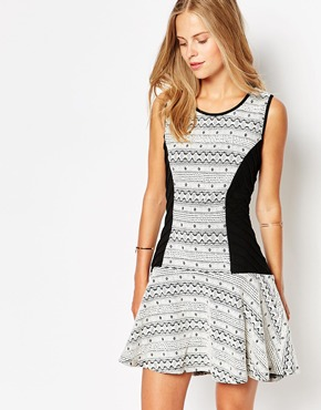 photo Printed Skater Dress with Contrast Panels by Greylin, color Black White - Image 1