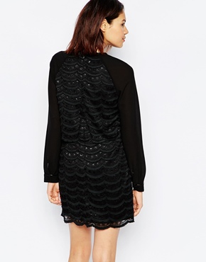 photo Scallop Lace Long Sleeve Dress with Crop Top by Greylin, color Black - Image 2