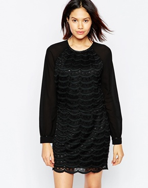 photo Scallop Lace Long Sleeve Dress with Crop Top by Greylin, color Black - Image 1