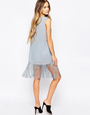 photo Embellished Shift Dress Fringe Trim by Hazel, color Denim - Image 2