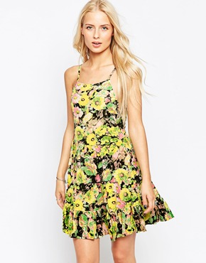 photo Floral Tiered Dress by Hazel, color Pink - Image 1