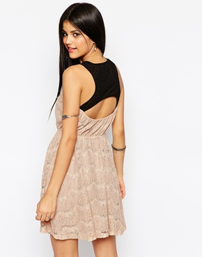 photo Lace Cross Front Skater Dress by Hazel, color Taupe - Image 2