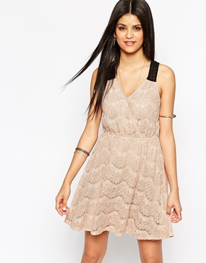 photo Lace Cross Front Skater Dress by Hazel, color Taupe - Image 1