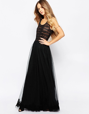 photo Lace Sleeveless Maxi Dress by Hazel, color Black - Image 1