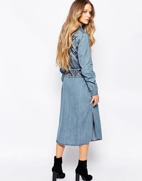 photo Long Sleeve Shirt Dress with Embroidery Detail by Hazel, color Denim - Image 2
