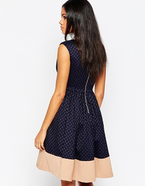 photo Midi Skater Dress in Polka Dot Print by Hazel, color Taupe - Image 2