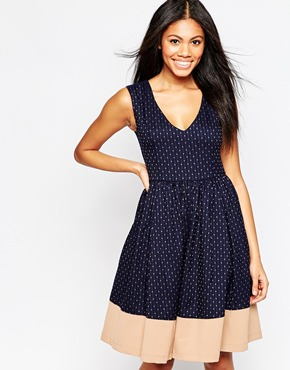 photo Midi Skater Dress in Polka Dot Print by Hazel, color Taupe - Image 1