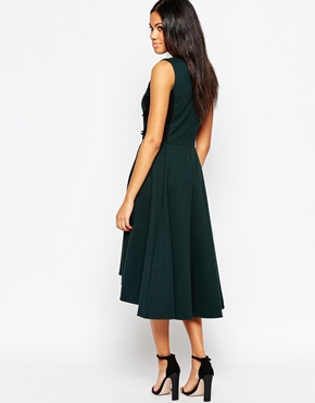 photo V Neck Midi Skater Dress by Hazel, color Hunter Green - Image 2