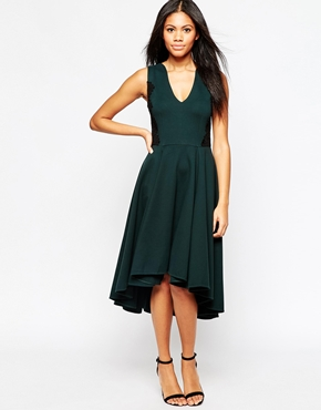 photo V Neck Midi Skater Dress by Hazel, color Hunter Green - Image 1