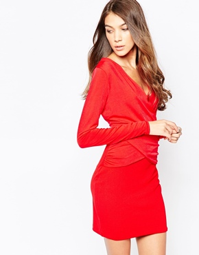 d4dadec392 April Long Sleeve Bodycon Dress in Slinky by Hedonia - Red