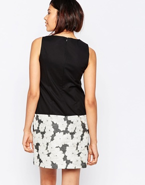 photo Floral Jacquard A-Line Dress by Helene Berman, color Black and Gold - Image 2
