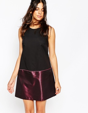 photo Top Bottom Shift Dress in Pink Metallic Fabric by Helene Berman, color Black and Pink - Image 1