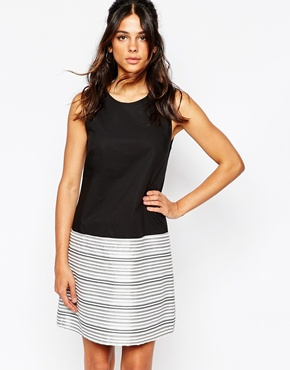 photo Top Bottom Shift Dress with Metallic Stripe by Helene Berman, color Black and White - Image 1