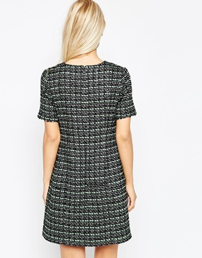 photo Tweed Shift Dress with Silver and Sequin Flecks by Helene Berman, color Mint Black - Image 2