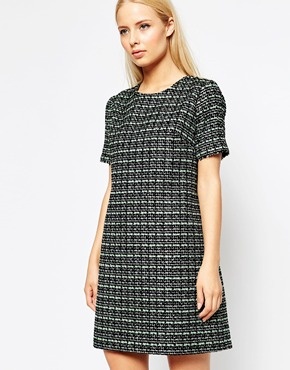photo Tweed Shift Dress with Silver and Sequin Flecks by Helene Berman, color Mint Black - Image 1