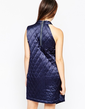 photo Quilted Silk Wrap Dress by House of Holland, color Navy - Image 2
