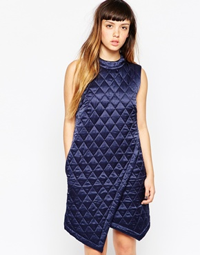 photo Quilted Silk Wrap Dress by House of Holland, color Navy - Image 1