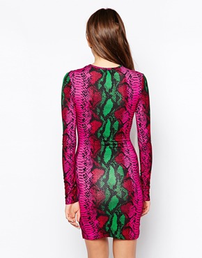 photo Snake Print Mini Dress with Long Sleeves by House of Holland, color Pink Snake - Image 2