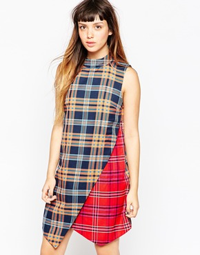 photo Tartan Wrap Dress by House of Holland, color Navy Red - Image 1