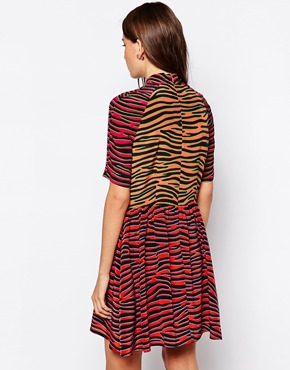 photo Zebra Print High Neck Sun Dress by House of Holland, color Red Pink Zebra - Image 2