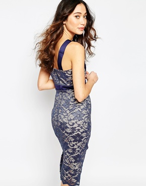 photo Colette Lace Plunge Neck Dress with Satin Trim by Hybrid, color Nude Navy - Image 2