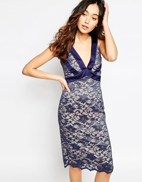 photo Colette Lace Plunge Neck Dress with Satin Trim by Hybrid, color Nude Navy - Image 1