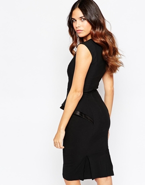 photo Grace V Neck Peplum Dress by Hybrid, color Black - Image 2