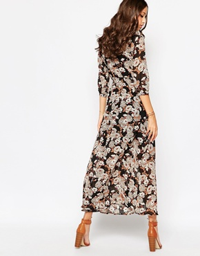 photo Boho Maxi Dress with Button Front by Influence Tall, color Autumn Arrangement - Image 2
