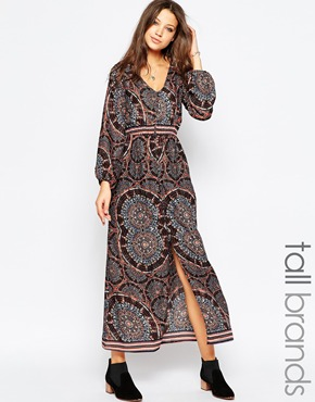 photo Long Sleeve Boho Maxi Dress by Influence Tall, color Multi - Image 1