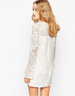 photo Lace Bell Sleeve Dress by JAPONICA, color Ivory - Image 2