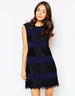 photo Ortega Dress with Lace Inserts by Jovonna, color Navy - Image 1
