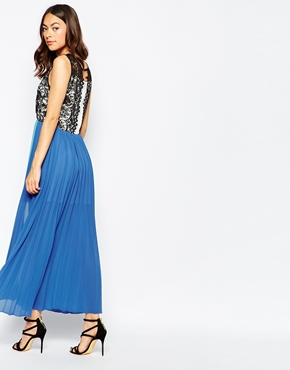 photo Arent We Wonderful Maxi Dress with Lace Top by Jovonna Premier, color Blue - Image 2