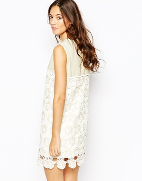 photo Brook Shift Dress In Lace by Jovonna Premier, color Cream - Image 2