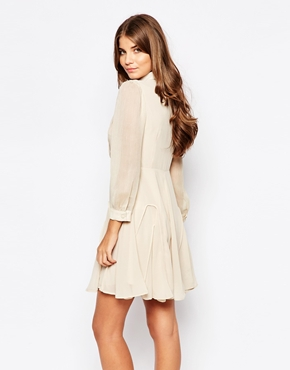 photo Go with The Flow Dress with Crochet Detail by Jovonna Premier, color Cream - Image 2