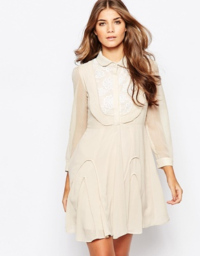 photo Go with The Flow Dress with Crochet Detail by Jovonna Premier, color Cream - Image 1